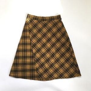 Zara Trafaluc S/S Yellow Plaid Midi Skirt